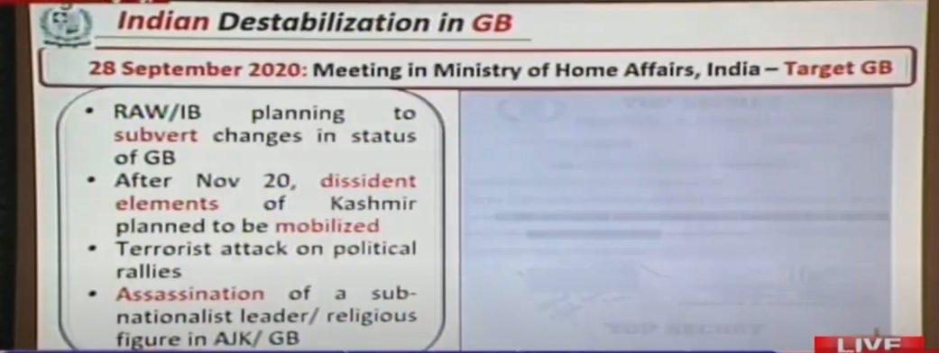 Indian destablizing Gilgit Baltistan