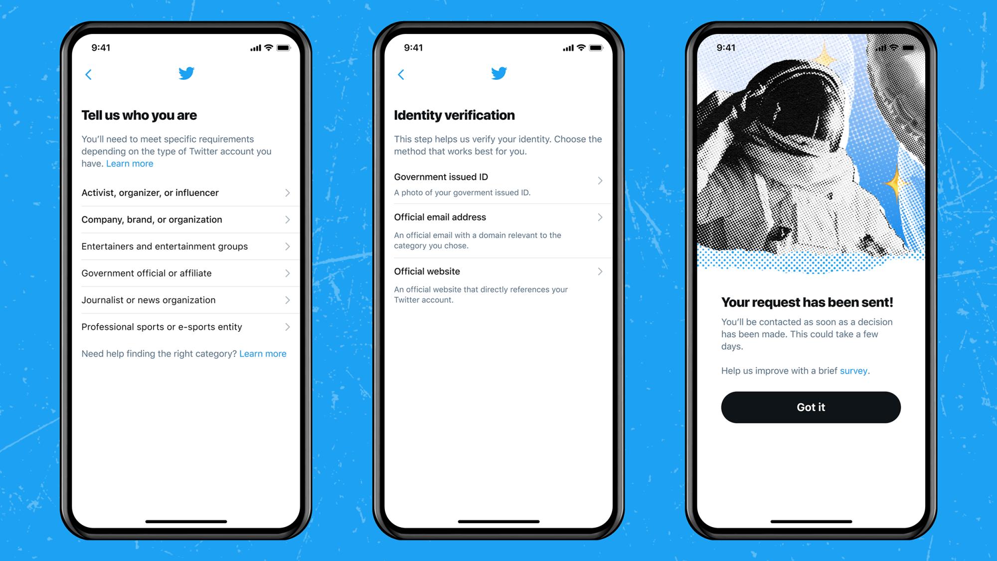 twitter verification form